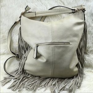 Moda Luxe Cream White Fringe Leather Bag